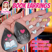 Glitter Book Earrings (Studs)