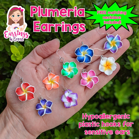 Plumeria Earrings & Necklace (Dangles) - size comparison hand