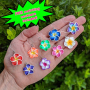 Plumeria Earrings & Necklace (Dangles) - all colors - free matching necklace included