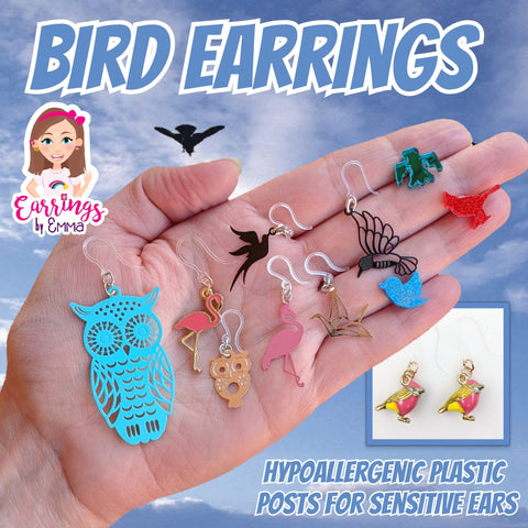 Colorful Bird Earrings (Dangles)