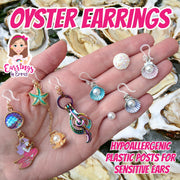 Holographic Oyster Treble Clef Earrings (Dangles)
