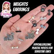 Silver Dumbbell Earrings (Dangles) - size comparison hand