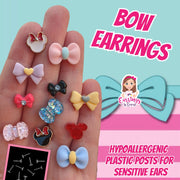 Dual Color Bow Earrings (Studs)