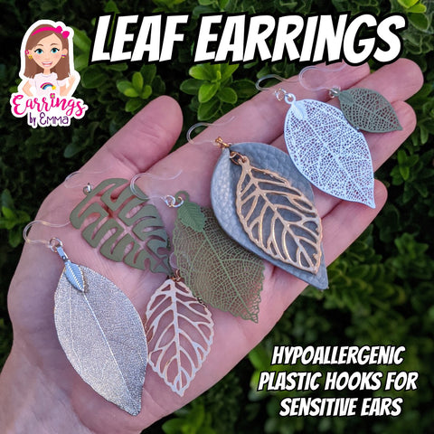 Leather Leaf Earrings (Teardrop Dangles)