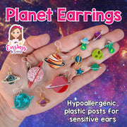 Rocket & Planet Earrings (Dangles) - size comparison to hand