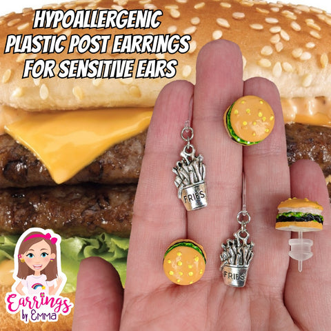 Hamburger Earrings (Studs)