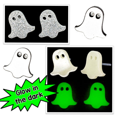 White Sheet Ghost Earrings (Studs) - all colors