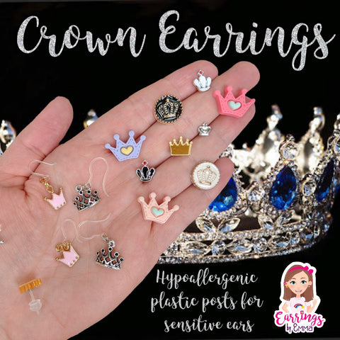 Gold Rimmed Crown Earrings (Studs)