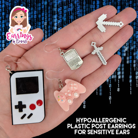 Large Pixelated Tool Earrings (Studs)