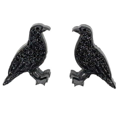 Crow Earrings (Studs) - solid black