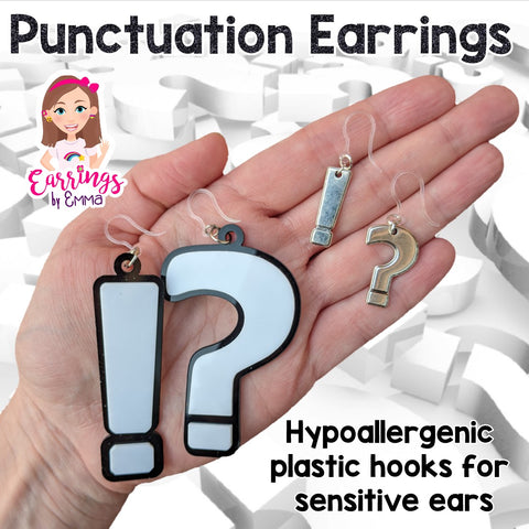 Silver Punctuation Earrings (Dangles)