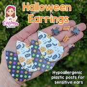 Boo Pumpkin Bat Earrings (Teardrop Dangles)