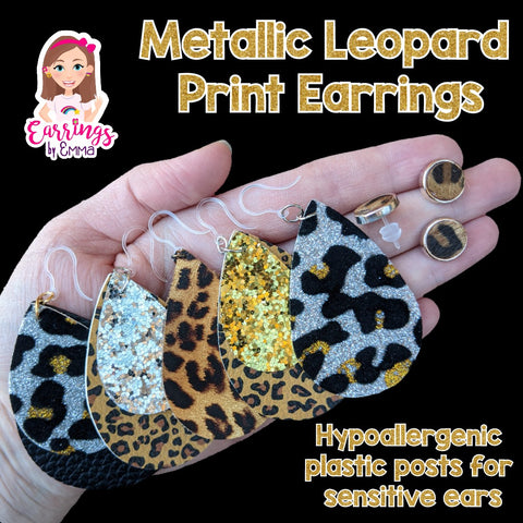 Metallic Leopard Print Earrings (Teardrop Dangles)