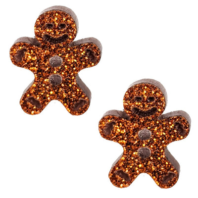 Gingerbread Man Earrings (Studs) - decorated