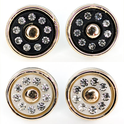Gold Rimmed Rhinestone Button Earrings (Studs) - all color