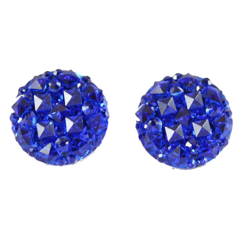 Crocodile Button 12mm Earrings (Studs) - royal blue
