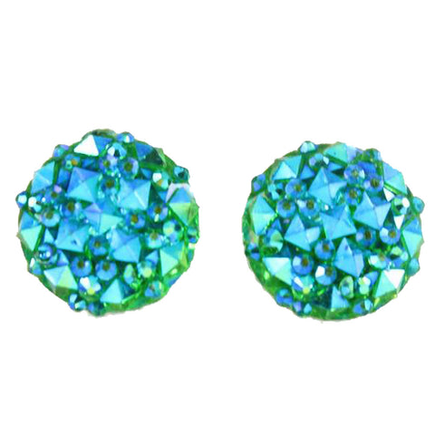 Crocodile Button 12mm Earrings (Studs) - aqua