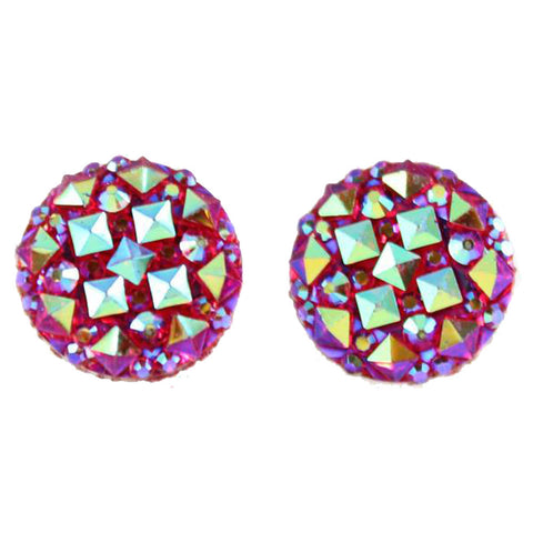Crocodile Button 12mm Earrings (Studs) - red