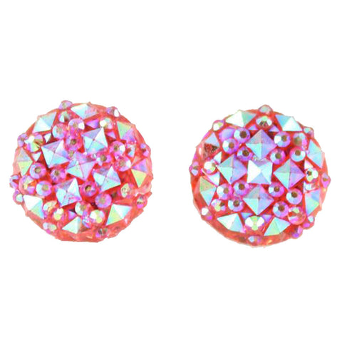 Crocodile Button 12mm Earrings (Studs) - pink
