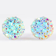 Crocodile Button 12mm Earrings (Studs) - faux diamond