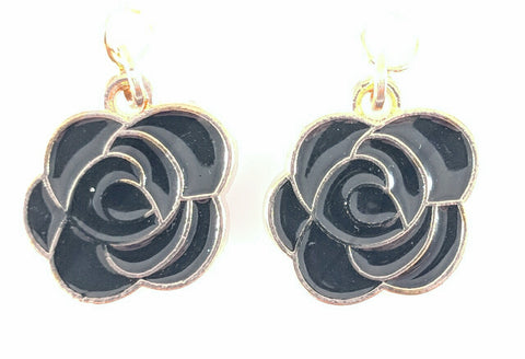 Rose Earrings (Dangles) - black
