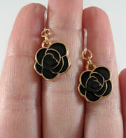 Rose Earrings (Dangles) - size comparison hand