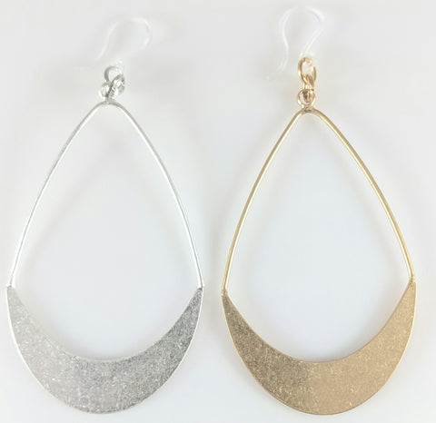 Hollow Water Drop Earrings (Dangles) - silver and gold