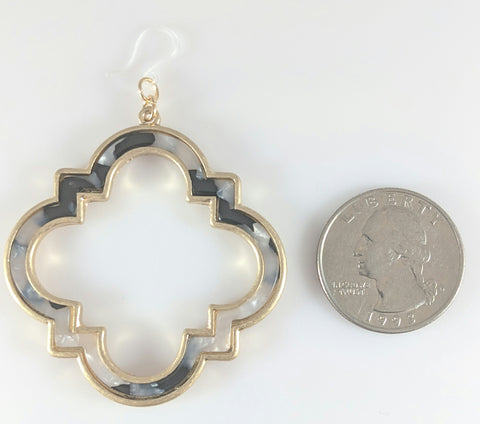 Moroccan Frame Earrings (Dangles) - size comparison quarter