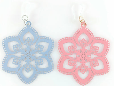 Spring Snowflake Earrings (Dangles) - gray and pink