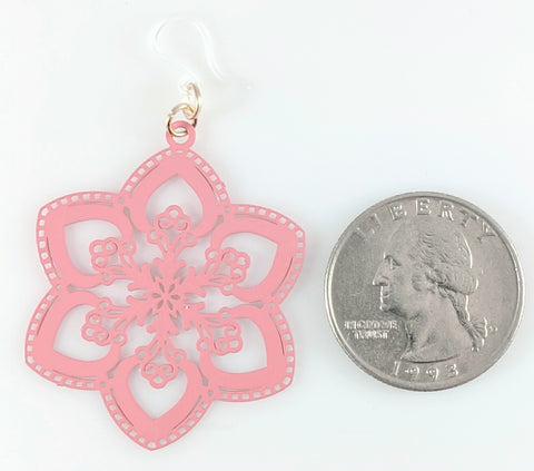 Spring Snowflake Earrings (Dangles) - size comparison quarter