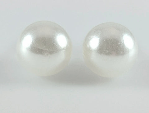 Faux Pearl Earrings (Studs) - white pearl