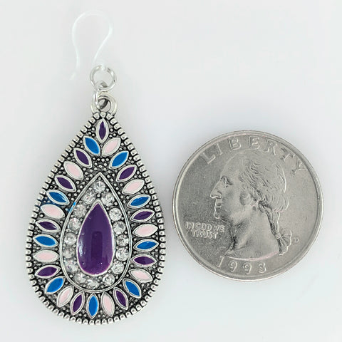 Aztec Stone Earrings (Teardrop Dangles) - size comparison quarter