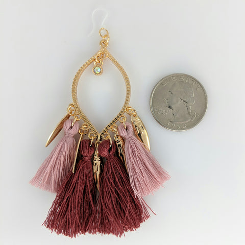 Decorated Tassel Earrings (Dangles) - size comparison quarter
