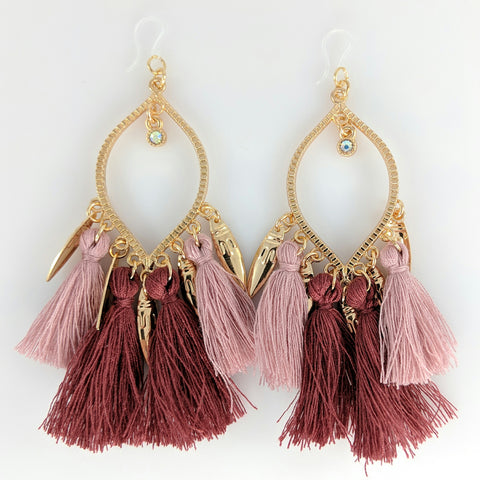 Decorated Tassel Earrings (Dangles) - crimson and pink