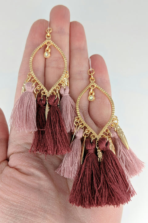Decorated Tassel Earrings (Dangles) - size comparison hand