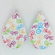 Bicycle Earrings (Teardrop Dangles) - multi colored