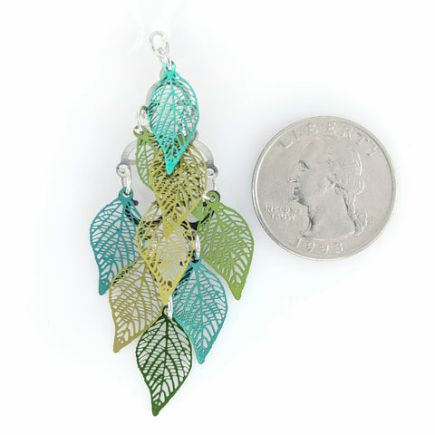 Leaf Shower Earrings (Dangles) - size comparison quarter