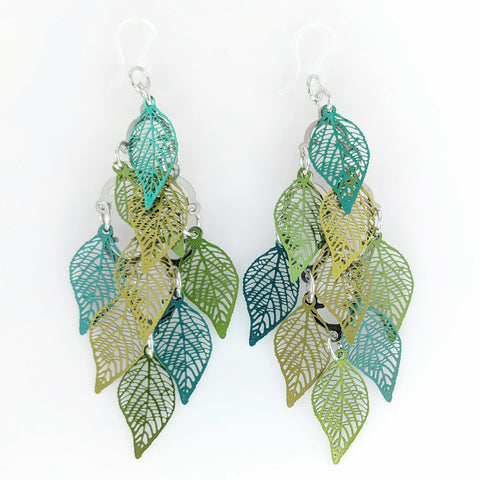 Leaf Shower Earrings (Dangles) - shades of green