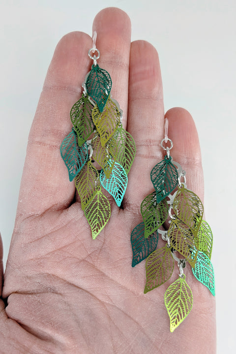 Leaf Shower Earrings (Dangles) - size comparison hand
