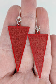 Inverted Triangle Earrings (Dangles) - size comparison hand
