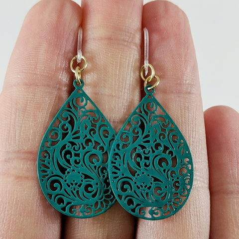 Paisley Teardrop Earrings (Dangles) - size comparison hand