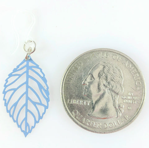 Petite Leaf Earrings (Dangles) - size comparison quarter