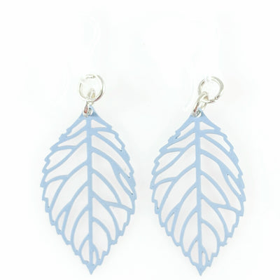Petite Leaf Earrings (Dangles) - blue grey