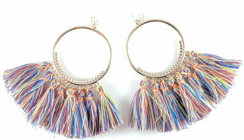Blue hoop multicolor tassel earrings product image
