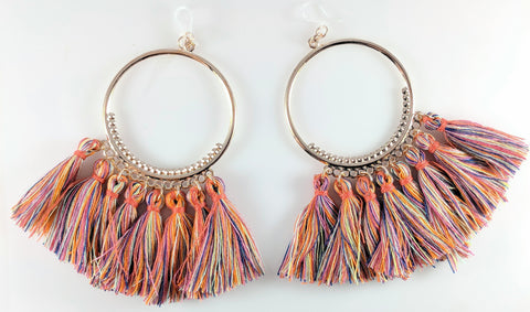 Orange hoop multicolor tassel earrings product image