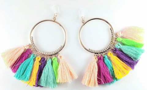 Fuschia hoop multicolor tassel earrings product image