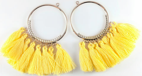 Single-Color Hoop Tassels Earrings