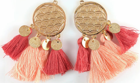 Gold Coin Tassels Earrings (Dangles) - coral
