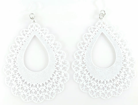 Lace Teardrop Earrings (Dangles) - white