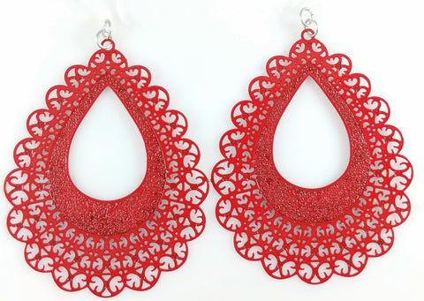 Lace Teardrop Earrings (Dangles) - red